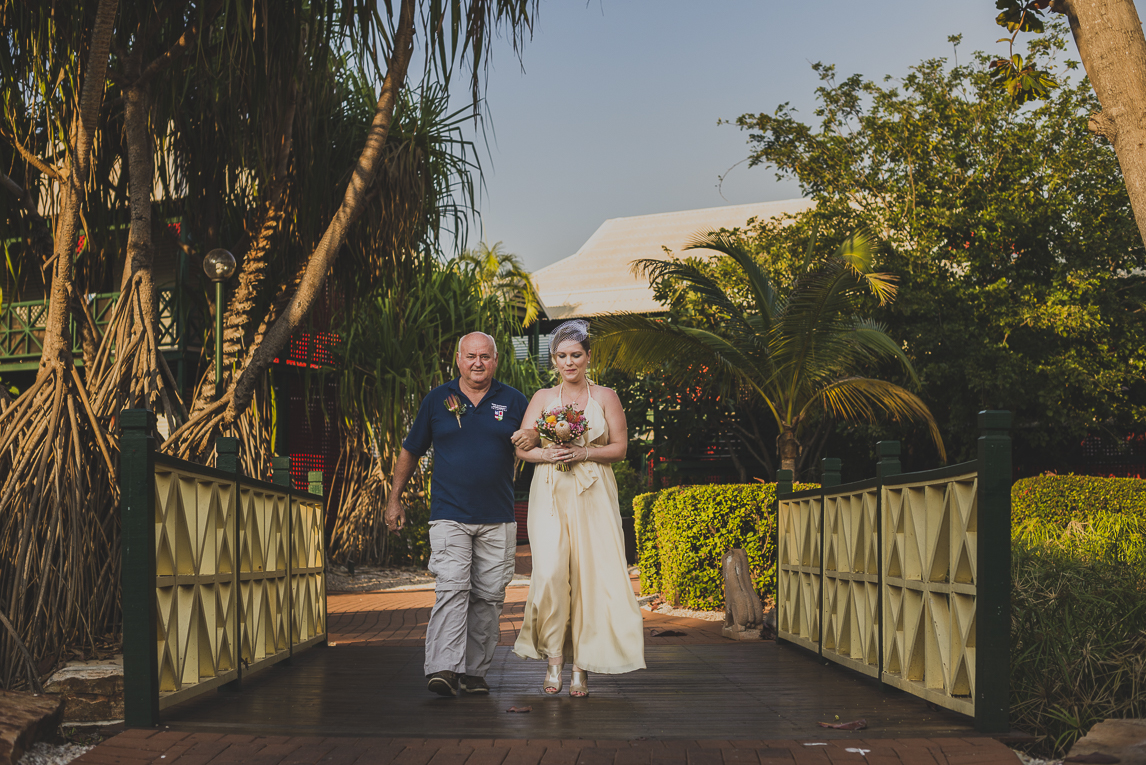 rozimages - wedding photography - bride and dad walking - Broome, Australia