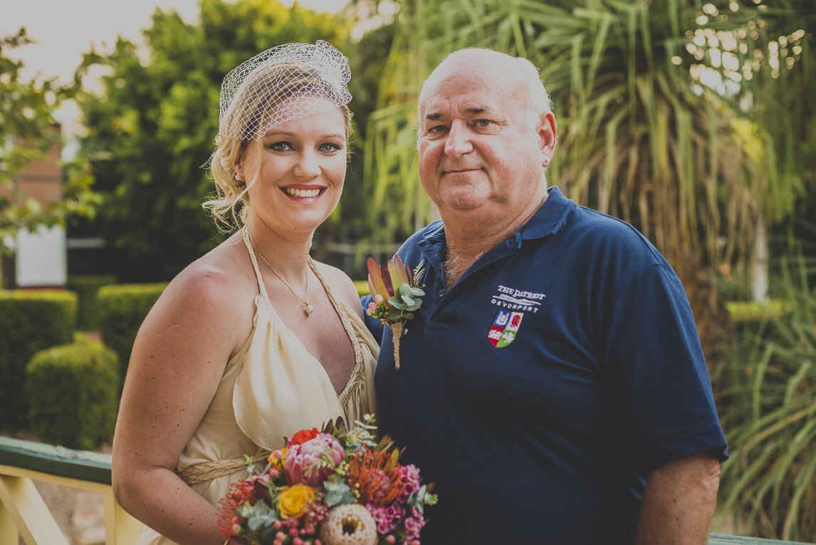 rozimages - wedding photography - bride and dad posing and smiling - Broome, Australia