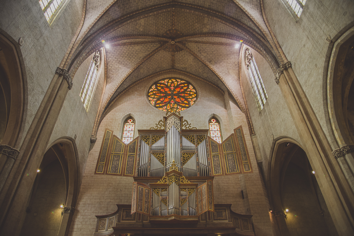 pink city architecture - organ in church - Musée des Augustins, Toulouse, France