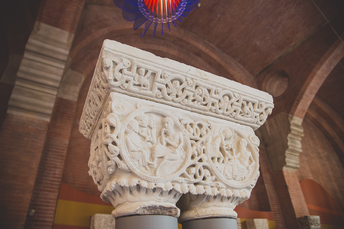 pink city architecture - capital on column in exhibition - Musée des Augustins, Toulouse, France