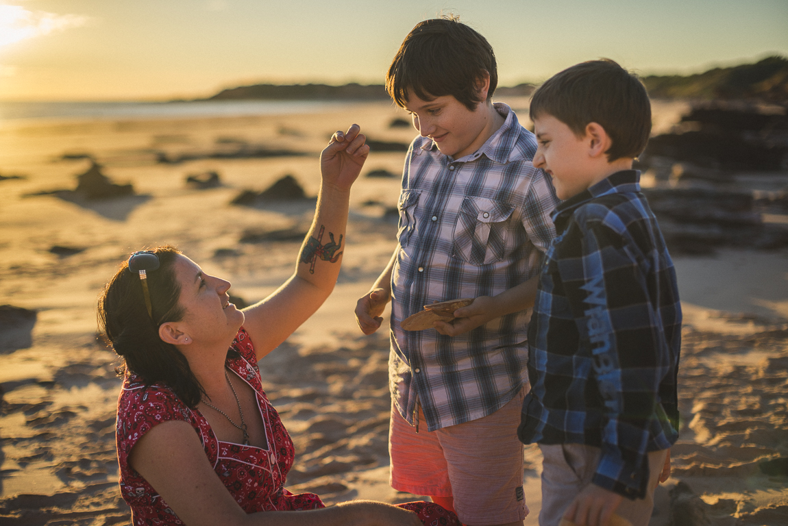 rozimages - family photography - beach session - mother and her two boys playing on beach - Reddell Beach, Broome, Australia