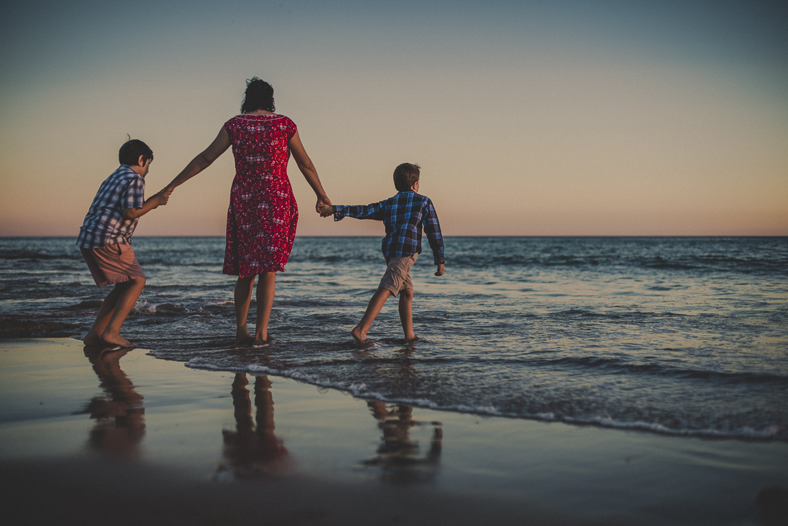 rozimages - family photography - beach session - mother and her two boys on the beach, walking into the sea - Reddell Beach, Broome, Australia