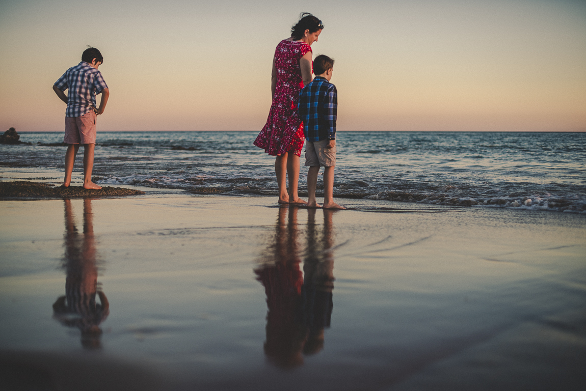 rozimages - family photography - beach session - mother and her two boys standing on beach in front of the sea - Reddell Beach, Broome, Australia