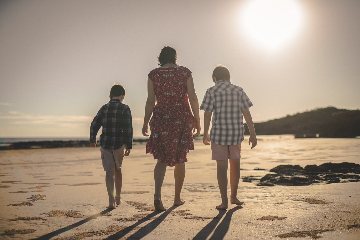 rozimages - family photography - beach session - mother and her two boys walking on beach - Reddell Beach, Broome, Australia