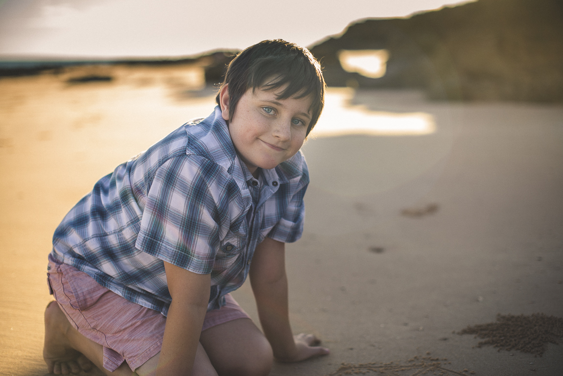 rozimages - family photography - beach session - smiling boy on beach - Reddell Beach, Broome, Australia