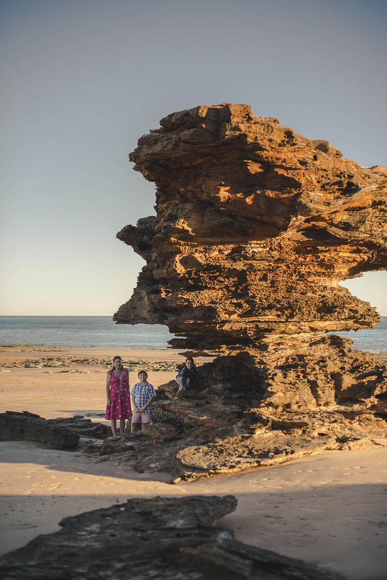 rozimages - family photography - beach session - mother and her two boys near a big rock on beach - Reddell Beach, Broome, Australia