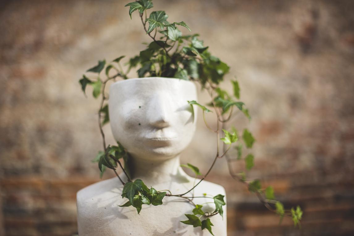 rozimages - photographie évènementielle - Expo Vente de Végétaux Rares 2015 - lierre planté dans une sculpture en céramique en forme de buste - St Elix le Chateau, France