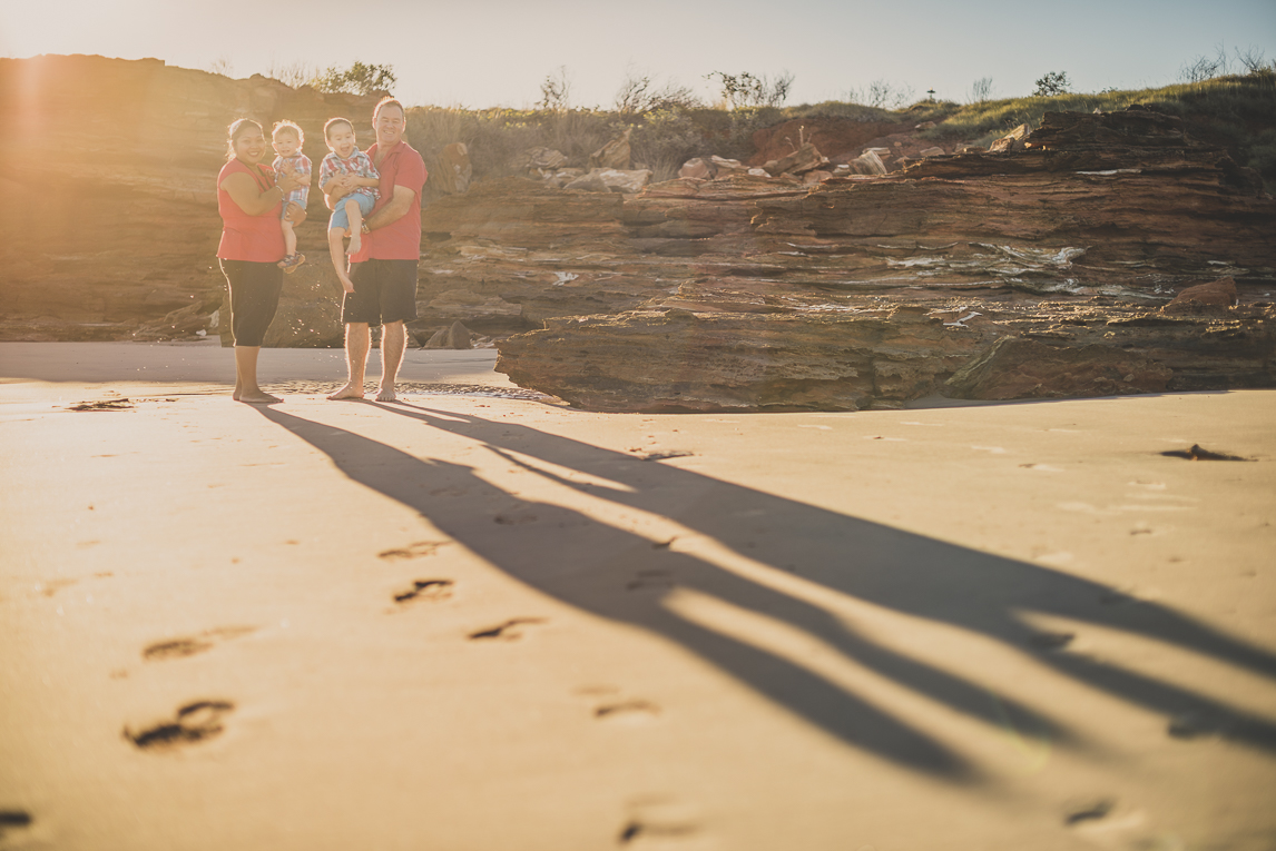 rozimages - family photography - beach session - portrait of family on beach with long shadows - Reddell Beach, Broome, Australia
