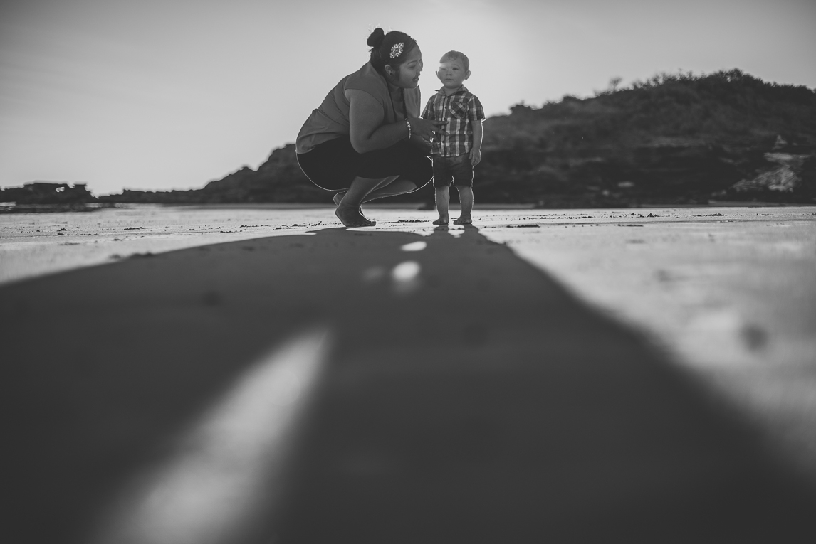 rozimages - family photography - beach session - Little boy and mum on beach with long shadows - Reddell Beach, Broome, Australia