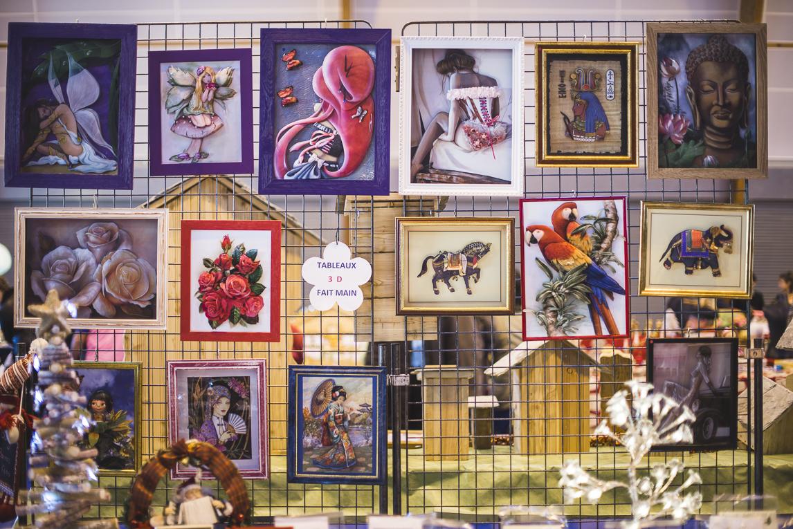 rozimages - photographie d'évènement - évènement communautaire - Marché de Noël 2015 - peintures encadrées - Mondavezan, France