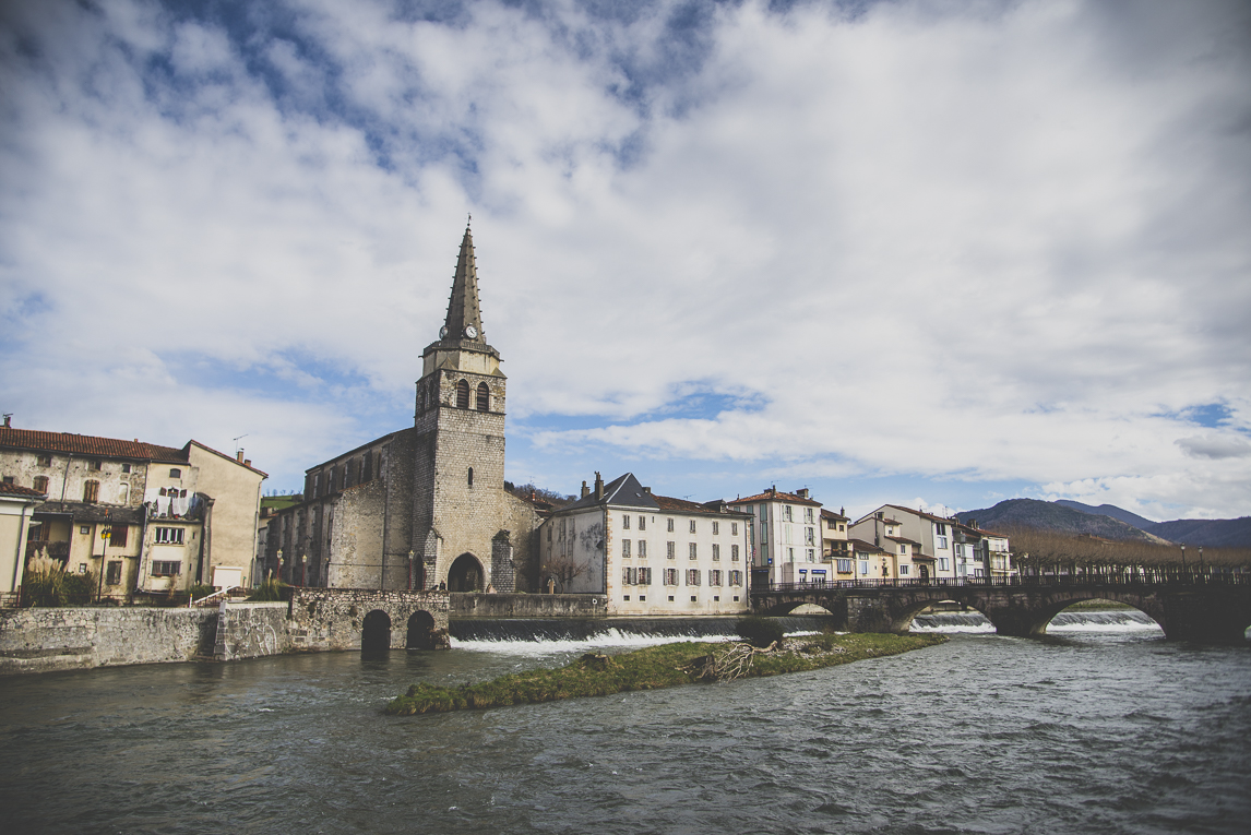 Photo of the French town of Saint-Girons - Church and river - Saint-Girons Photographer