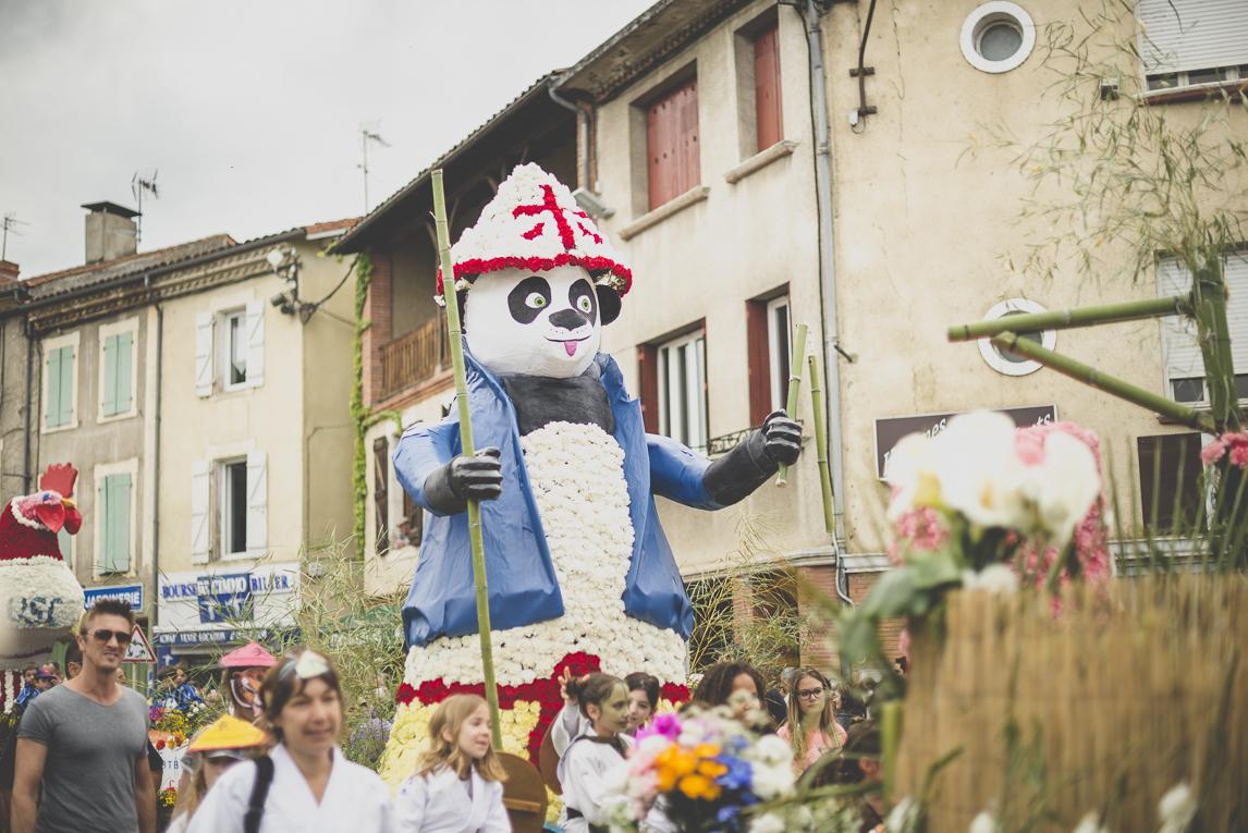Fête des fleurs Cazères 2016 - char décoré avec Kung Fu Panda - Photographe évènementiel