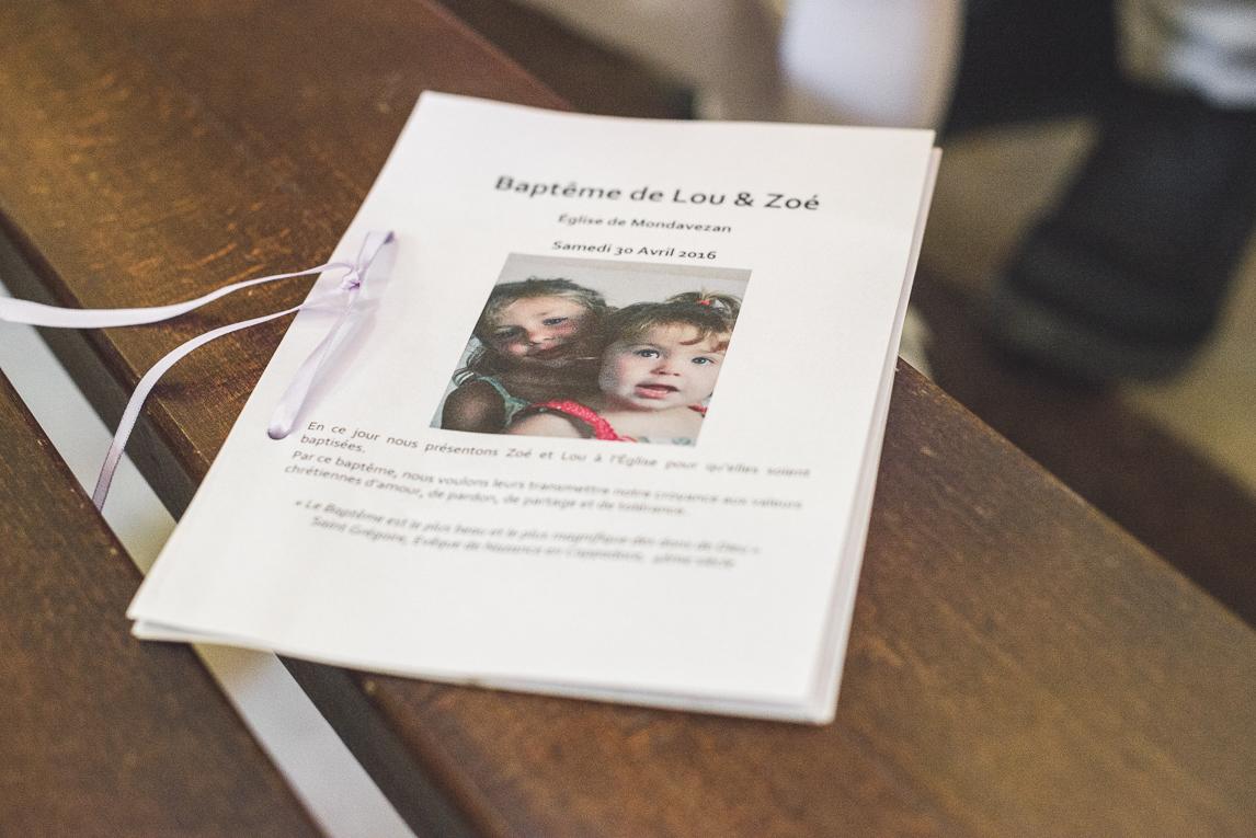 Baptême à Mondavezan - livret - Photographe de famille