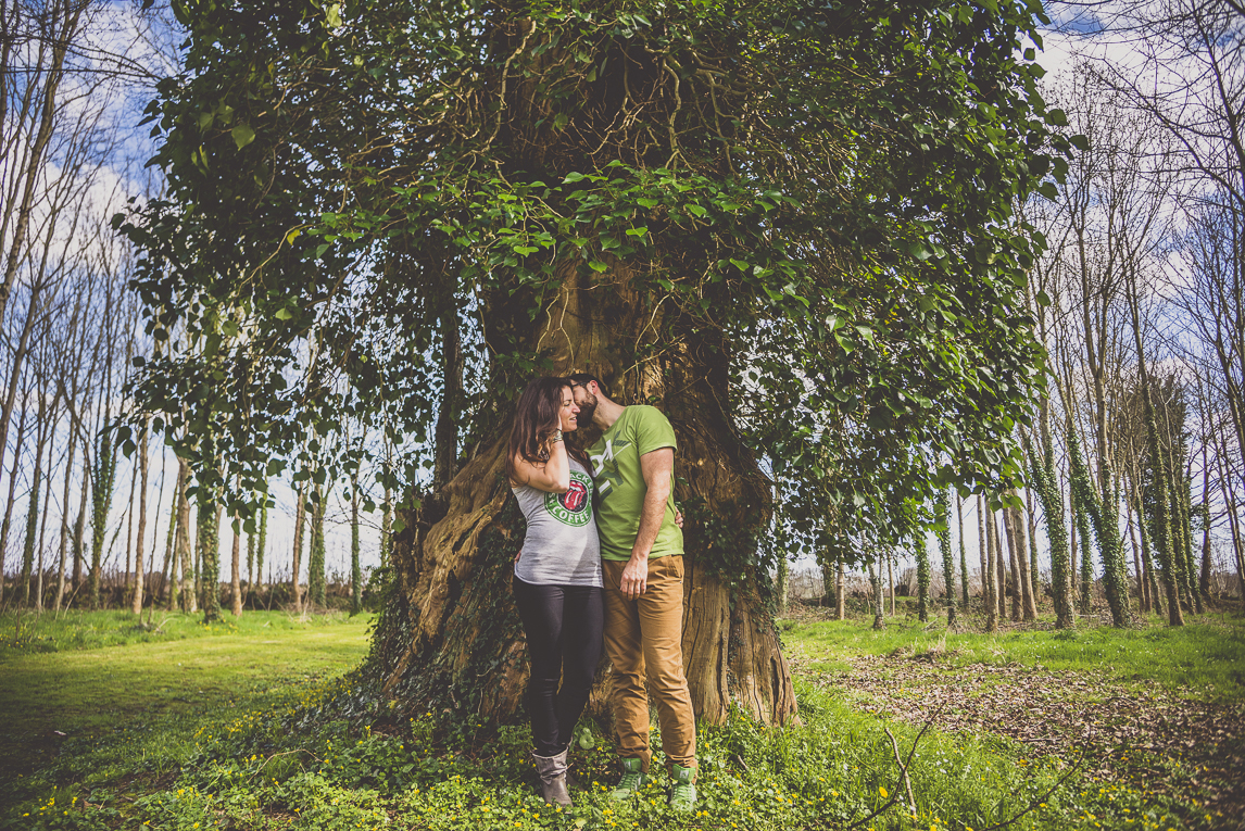 Séance couple en Bretagne - couple devant large arbre - Photographe de couple