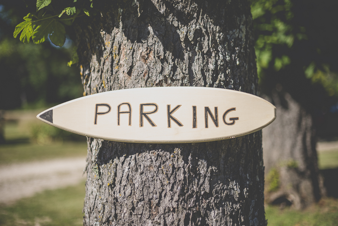 Wedding Photography South West France - car park sign on tree trunk - Wedding Photographer
