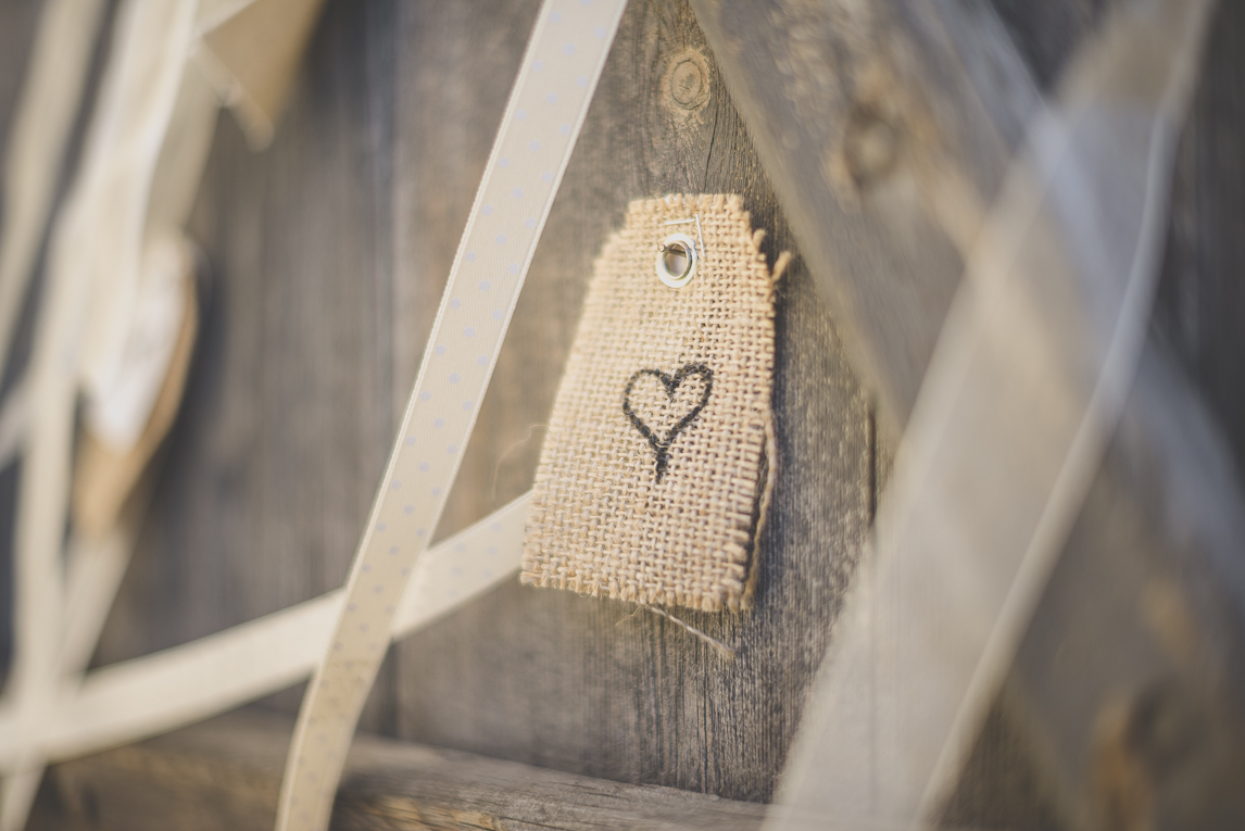 Wedding Photography South West France - wedding decoration with ribbons and tags - Wedding Photographer