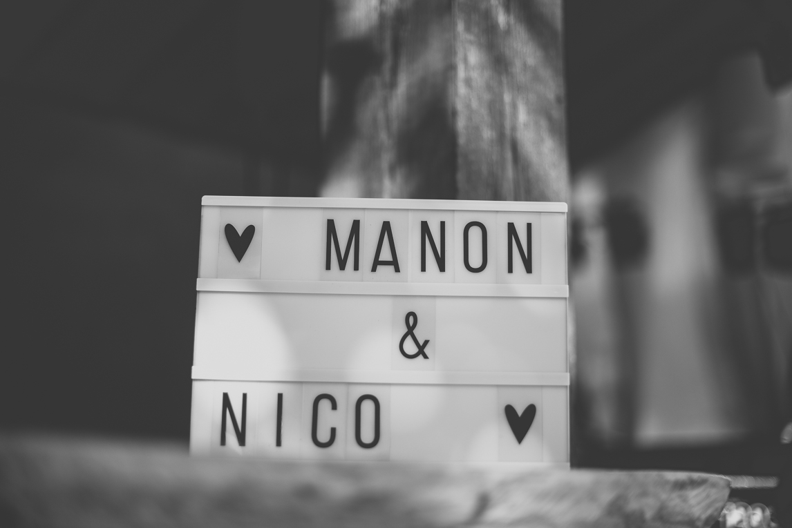 Wedding Photography South West France - sign with names of bride and groom - Wedding Photographer