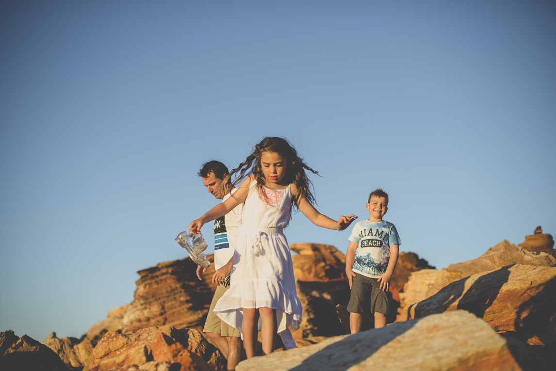 Family photo session - family walking on rocks - Family Photographer