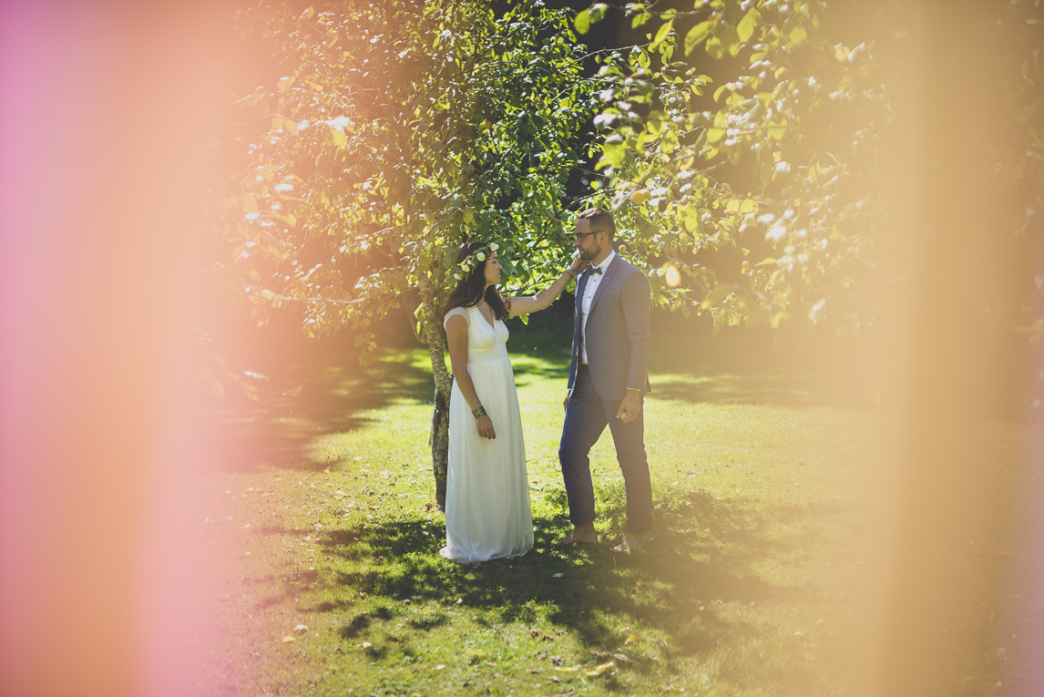 Wedding Photography Brittany - bride and groom near fruit trees - Wedding Photographer