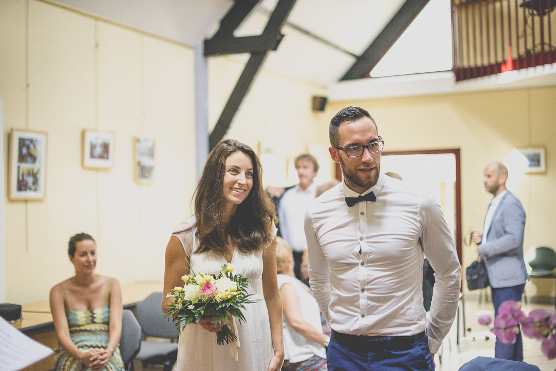 Wedding Photography Brittany - bride and groom in town hall - Wedding Photographer