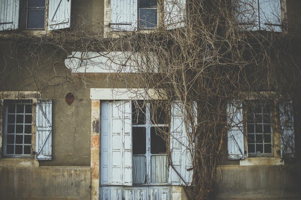Reportage village Alan - façade vieux bâtiment avec plante grimpante - Photographe voyage