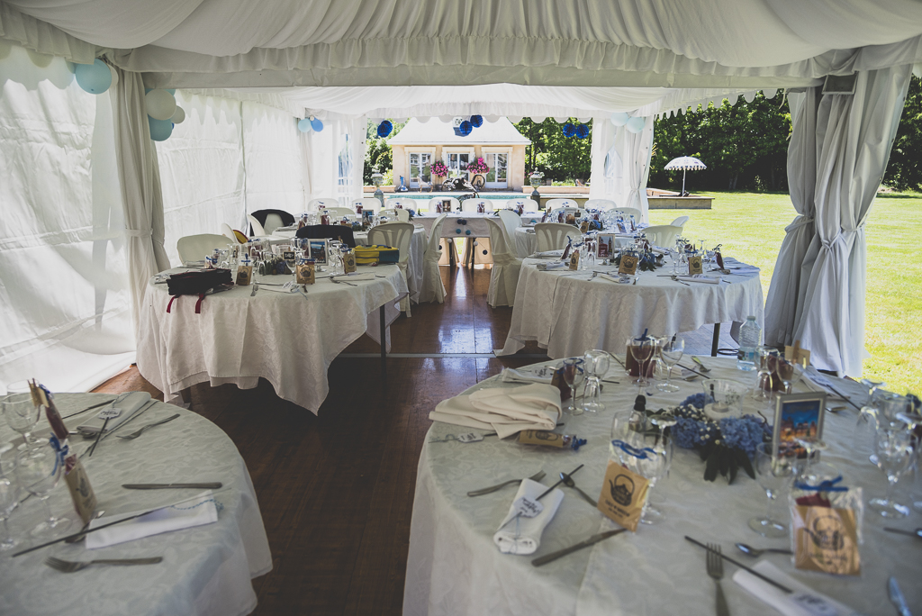 Wedding Photography French château - tables under marquee - Wedding Photographer