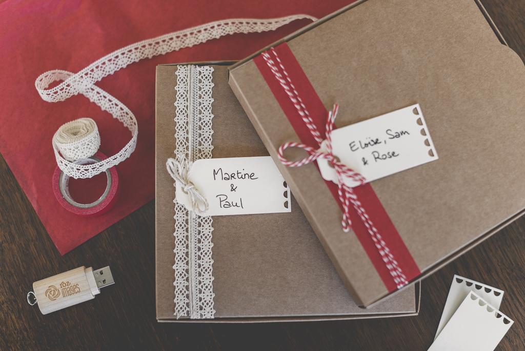 Nouveau packaging photographe cle usb tirages - boites kraft décorées - Photographe Toulouse