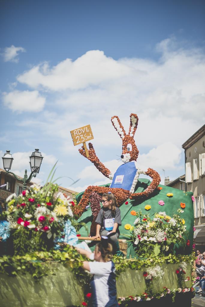 Fete des fleurs Cazeres 2018 - char fleuri lapin - Photographe Haute-Garonne