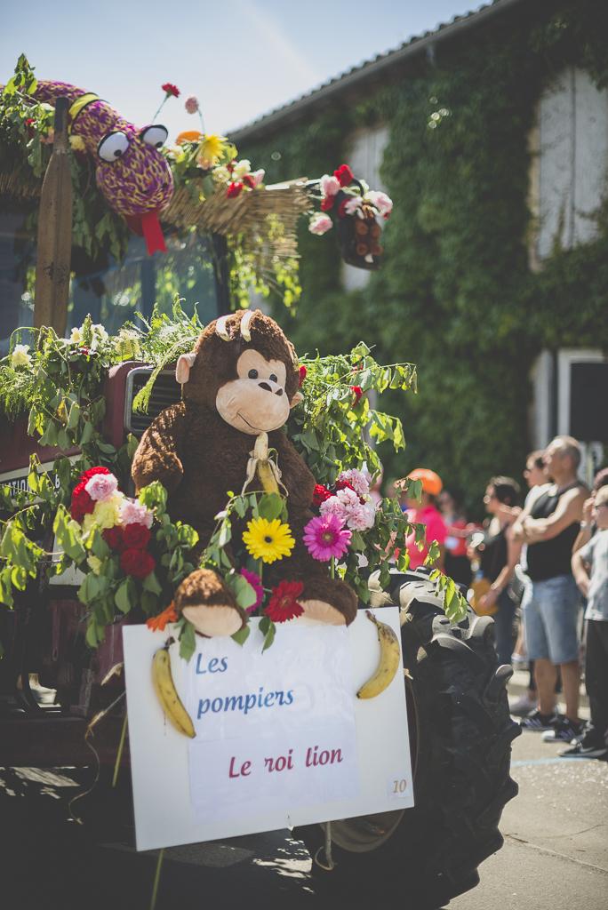 Fete des fleurs Cazeres 2018 - avant de char fleuri avec peluche - Photographe Haute-Garonne
