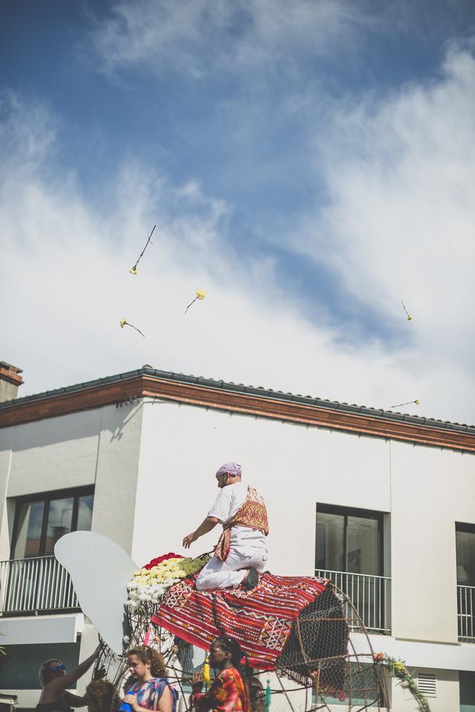 Fete des fleurs Cazeres 2018 - homme sur char fleuri lance des fleurs - Photographe Haute-Garonne