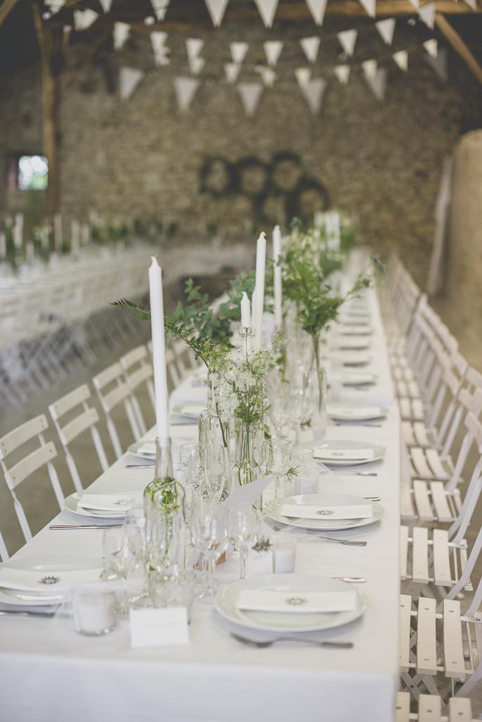 Reportage mariage Auch - décoration de table blanche - Photographe mariage Gers