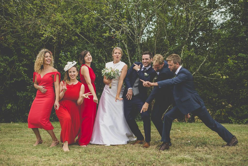 Reportage mariage Auch - Photo de groupe mariés et témoins - Photographe mariage Gers
