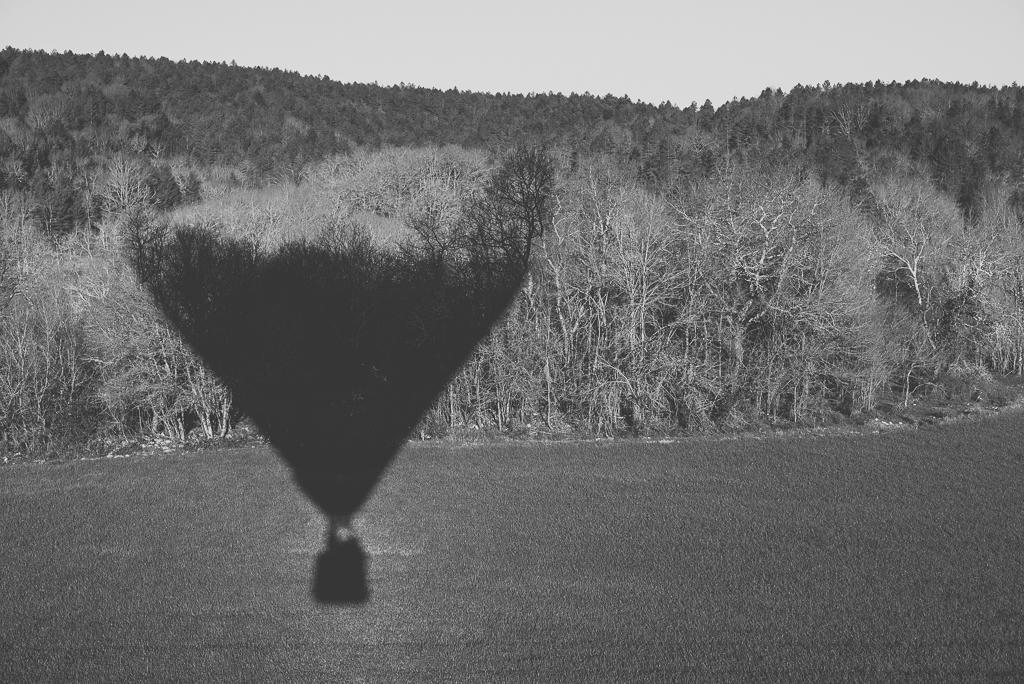 Photos vol montgolfière Haute-Garonne - ombre montgolfière sur forêt noir et blanc - Photographe Toulouse