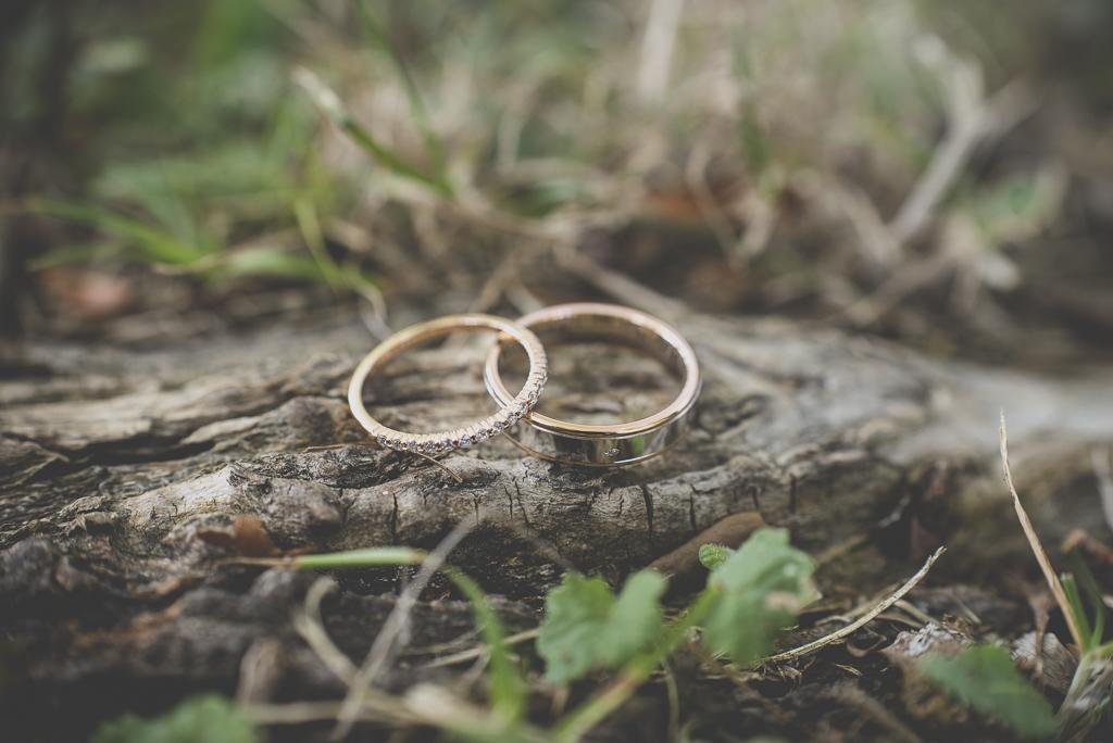 Reportage mariage automne Saint-Gaudens - alliances sur racine d'arbre - Photographe Saint-Gaudens