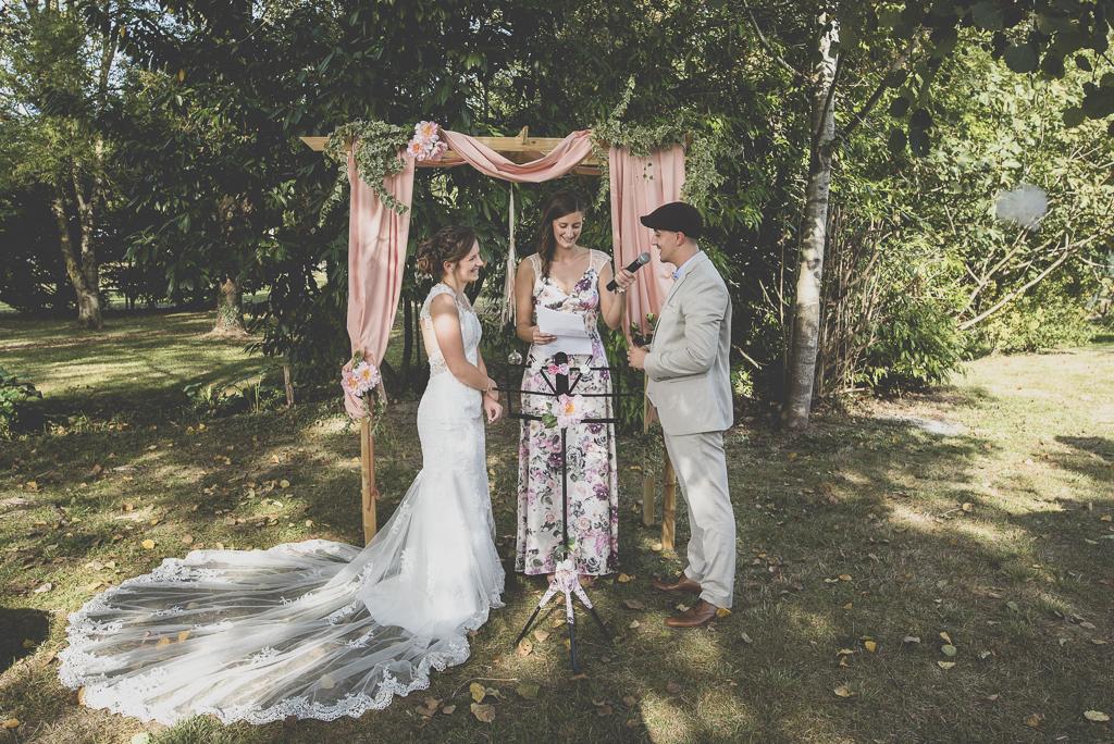Reportage mariage automne Saint-Gaudens - échange des voeux des mariés - Photographe Saint-Gaudens